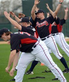 Atlanta Braves stretching