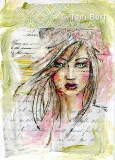 601 best art - faces images in 2019 Mixed Media Faces, Collage Art Mixed Media, Mixed Media Canvas, Mixed Media Artists, Mix Media, Watercolor Girl, Drawn Art, Face Images, Art Journal Inspiration