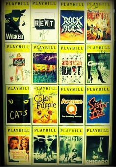 musicals :)  found this big frame at michaels and it fit 16 playbills perfectly.