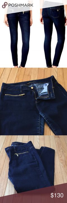 "Michael Kors overdyed skinny gold zip jeans 8 Gently preloved stretch ankle denim jeans - some fade/whiskering in crotch area and slightly on zipper pulls.  Zip fly with a gold-tone button closure Belt loops Stretch skinny legs Two front pockets with gold-tone zipper closure Two back patch pockets Gold-tone MK logo medallion on the back right pocket  Approximate measurements: Inseam: 28"" Waist flat lay : 16"" Rise: 9"" A Michael Kors Jeans Skinny"