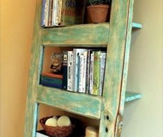 Turn an old door into a #rustic shelving unit! #DIY #crafts