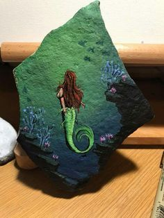 Mermaid painted rock