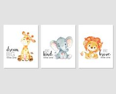 Sweet safari nursery set of printable wall art! Dream big little one giraffe, be kind little one elephant and be brave little one lion print to display in a nursery. A gender neutral print. Four sizes are included so you can decide which you prefer. I have the same set available