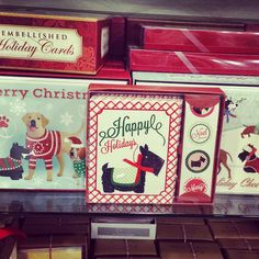 Holiday Scottie greeting cards found at HomeGoods. Priced from $4-7 per box.