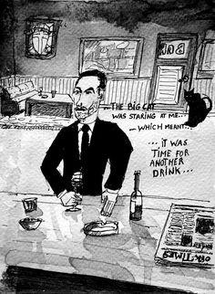 #WorldWatercolorGroup - Sketch by Tim Soekkha of Man drinking and cat Noir - #doodlewash