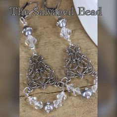 Vintage Assemblage Czech Rhinestone, Silver Pearl Earrings By The Salvaged Bead