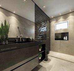 Banheiro com london bricks pretos por Carol Cantelli