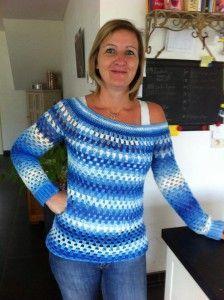 Gehaakte granny stripe trui, #haken, gratis patroon, Nederlands, trui, granny stripes, #haakpatroon