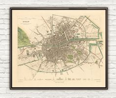 Old Map of Dublin, Ireland 1853 Antique Vintage INFO:✪ Fine reproduction printed with a Canon imagePROGRAF Heavyweight Matte Museum quality archival paper at 250 g/sqm.✪ Pigment inks (Canon Lucia EX) that are water & fade-resistant. Dublin Map, Dublin Ireland, Old Pictures, Old Photos, City Illustration, Vintage Maps, City Maps, Pigment Ink, Cartography