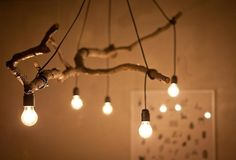 Natural Tree Branch And String Light Chandelier is part of Wood diy - Perfect tree branch chandelier for your modern farmhouse lighting, living room, rustic, simple with nice light bulbs! Lamp, Bulb, Lights, Wood Diy, Light, Chandelier, Wooden Decor, Branch Chandelier, Diy Lighting
