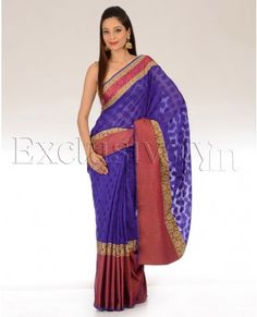 Violet Polka Dot Sari With Red Border