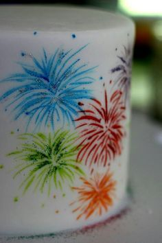 Firework / Bonfire Night Cake Idea - For all your cake decorating supplies, please visit craftcompany.co.uk