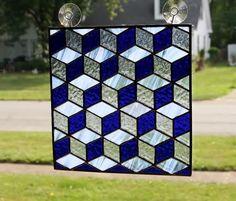 Stained Glass Panel Tumbling Blocks by GailsGlassGarden on Etsy, $55.00