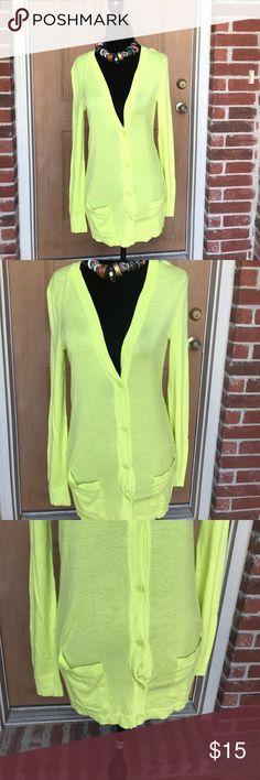 Super fun greenish yellow cardigan Stylish greenish yellow gap cardigan size small GAP Sweaters Cardigans