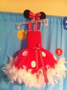 Minnie Mouse costume tutu dress with feather boa by TutusbyMegR, $30.00