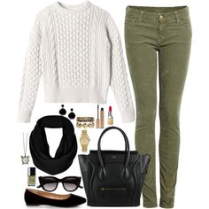 A fashion look from October 2013 featuring crop top, corduroy jeans and pointed toe flats. Browse and shop related looks.