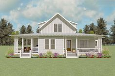 Love the wrap around porch! Exclusive Country House Plan with Two-Story Living Room and Porches Galore - thumb - 14 Small House Plans, House Floor Plans, Farmhouse Plans, Modern Farmhouse, Farm Plans, Cabin Plans, Porch Shelter, Old Houses, Old Country Houses