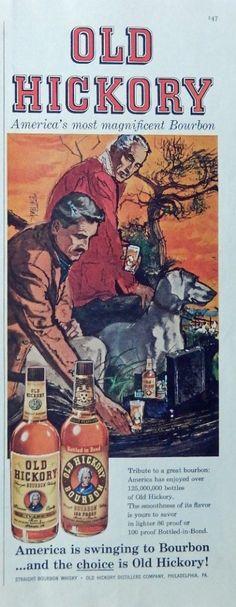 Old Hickory Whiskey  print ad  vintage Color Illustration  men with dog  1959 Post Magazine Art