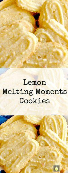 Lemon Melting Moments Cookies - A wonderful gentle lemon flavor with a melting sensation! Lemon Melting Moments Cookies - A wonderful gentle lemon flavor with a melting sensation! Lemon Desserts, Lemon Recipes, Cookie Desserts, Just Desserts, Sweet Recipes, Baking Recipes, Cookie Recipes, Delicious Desserts, Dessert Recipes