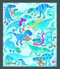 Look and Find Dinosaurs - Gareth Lucas #dinosaurs #yutyrannus #utahraptor #styracosaurus #trex #pteranodon #stegosaurus #argentinosaurus #diplodocus #gigantosaurus #spinosaurus #look #find #picture #puzzle #activitybook #childrensbook #illustration #kidlitart #garethlucas