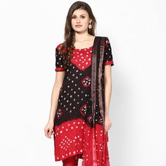 Red and Black Cotton Churidar Kameez