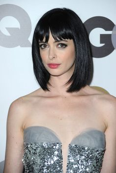 Long bob with bangs - basically the look i'm going for but not reeeally achieving. everyone else who makes this work seems to sweep their bangs to the side.
