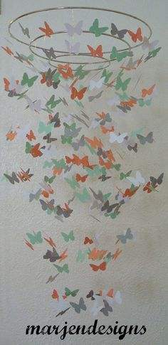 Ready to ship beautiful mint green peach white and grey butterfly mobile Nursery Inspiration, Nursery Ideas, Color Inspiration, Room Ideas, Butterfly Nursery, Butterfly Mobile, Butterfly Wedding, Purple Butterfly, Baby Bedroom