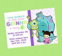 Monsters Inc Cute Birthday Invite by CelebrationsByLulu on Etsy, $12.99