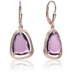 Collette Z Roseplated Sterling Silver Purple Pear Drop Earrings (1.110 RUB) ❤ liked on Polyvore featuring jewelry, earrings, purple, pear earrings, rose earrings, square earrings, long drop earrings and sterling silver jewelry