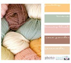 Paletas de Cores Para Decoração Love the colours of the wool…could crochet some granny squares in these Yarn Color Combinations, Colour Schemes, Color Patterns, Yarn Colors, Room Colors, Deco Pastel, Colour Pallette, Color Balance, Balance Design
