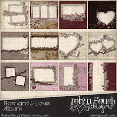 Digital Quick Page Album - Romantic Love Digital Scrapbook Album - 12 Pre-Made Valentine Layout Pages by Robyn Gough on Etsy, digiscrap, digitalscrapbooking