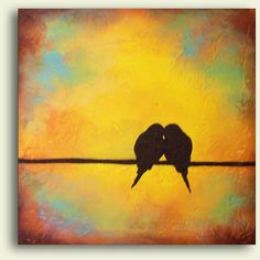 Bird Painting for Wedding Romantic Custom Art Perfect gift for couples... ❤ liked on Polyvore