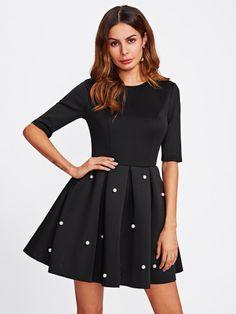 Kleid mit Perlen und Plissee - German SheIn(Sheinside) Schwarz, Kleider,  Schwarzes f1bfd2d81d