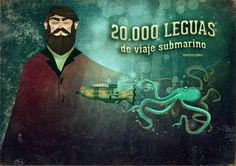 MundoSucedaneo- 20.000 leguas de viaje submarino Illustration, Movie Posters, Movies, Painting, Underwater, Voyage, Parts Of The Mass, Libros, Films