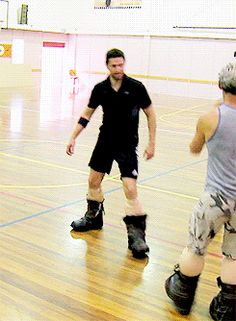 (gif) Playing in their dwarf boots... lol
