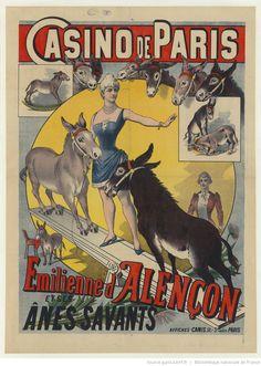 Casino de Paris. Emilienne d'Alençon et ses ânes savants : [affiche] / [ non identifié]