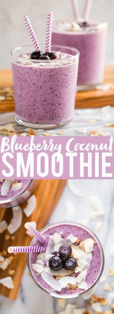 Blueberry Banana Coconut Smoothie   Smoothie recipes   Blueberry Smoothie   Coconut milk smoothie   Almond butter in smoothies   Breakfast Smoothie