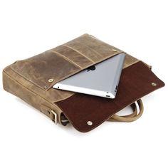"""Vintage Handmade Crazy Horse Leather Briefcase, Messenger, 14"""" 15"""" Laptop / 13"""" 15"""" MacBook Bag"""