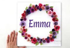 This personalized art is a perfect gift for a girl. This customized name sign is made to order with each child's name. My unique 3D floral paper art makes a beautiful gift for a new baby, birthday, christening, Hanukkah, Christmas, Bat Mitzvah, and for countless other occasions #paperflowerart #paperflowers #personalizedgifts #personalizedgiftforgirl #shikmabenmelech #shikmapaperart #newbabynameart #newbabygirl #baptismgift #baptism #baptismgiftforgirl #christening #christeninggift… Paper Flower Wreaths, Paper Flower Art, Paper Flowers, Hanukkah Gifts, Jewish Gifts, Baptism Gifts For Girls, Unique Gifts For Kids, Name Wall Art, Last Minute Christmas Gifts