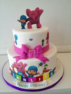 Girls Pocoyo birthday cake with pink bow Baby Girl Birthday, Birthday Bash, Birthday Parties, Third Birthday, Happy Birthday, Cake Pocoyo, Cakes For Boys, Cake Kids, Cake Pictures