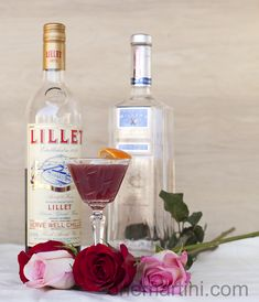 Lillet, My Love (a Gin Lillet Rouge cocktail). Gin, Lillet Rouge, clementine juice, lime juice, Angostura bitters. Garnish with orange peel.