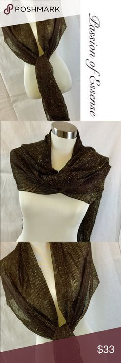 """Metallic Brown Long Scarf & Wrap This Luxurious Brown Scarf are  Metallic thread and Elegant Tassels it can be style long, infinity, loop, twisted, or double around the neck. You can style this to a gorgeous evening party, or any special event. Great idea for a gift. 80% rayon 20% Metallic Dry Clean Only. 84"""" long Passion of Essense Accessories Scarves & Wraps"""