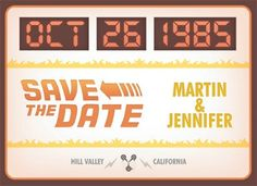 Great Geeky Wedding Invitation : Back to the Future