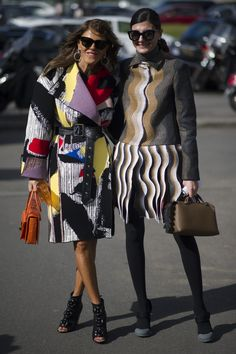 "Giovanna Battaglia carrying the new Fendi ""By the way"" poses together with Anna Dello Russo during Paris Fashion Week"