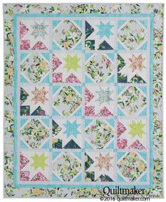 Dawnstar Quilt Kit: Pretty floral prints, unique quilt blocks and a sophisticated color palette make this lap quilt designed by Wendy Sheppard  universally appealing.