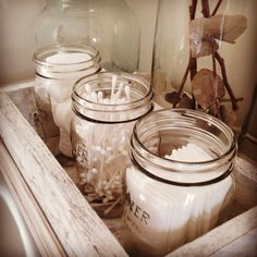 Vintage kilner jar bathroom storage