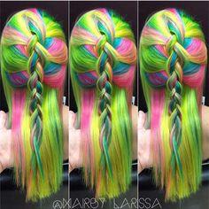 #shoutoutsunday Neon Rainbowby @hairby_larissa #hotonbeauty