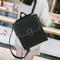 Leisure Girl's Frosted PU Flap Square Rings School Retro Travel Backpack #bag #backpack #school #ring Girl Backpacks, School Backpacks, Travel Backpack, Fashion Backpack, Square Rings, Black And Grey, Student, Purses, Retro
