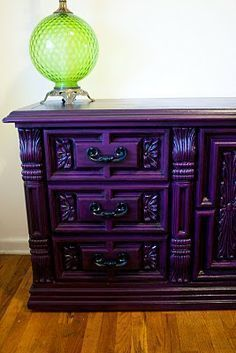 Modernly Shabby Chic Furniture: Barney the Purple Dresser and Night Stand #shabbychicfurniturepainting #shabbychicfurnituredresser