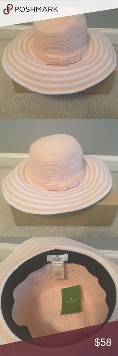 "NWT Kate Spade Striped Cotton Cording Sun Hat NWT Kate Spade Striped Cotton Cording Sun Hat. Perfect for Summer! Size O/S. Color is ""porcelain slip"". kate spade Accessories Hats"